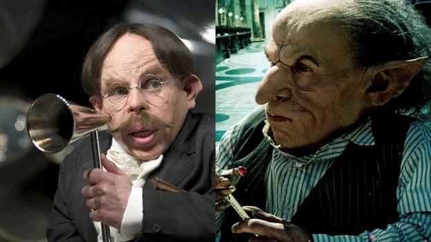 O professor de feitiços Flitwick e o duende Grampo