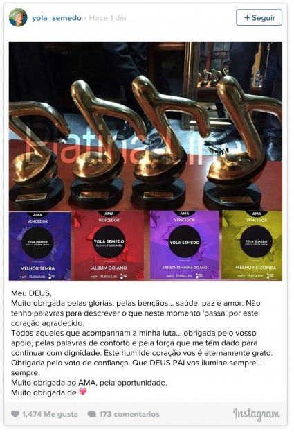 Yola Semedo comemora os prêmios no Instagram. (Imagem: Reprodução Instagram)